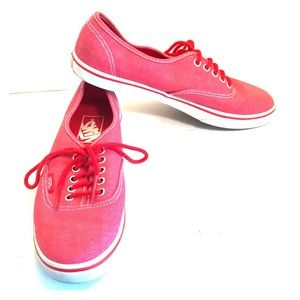 Vans Red Unisex Lace-Up Fashion Sneakers Wmn 7 EUC